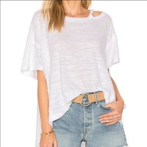 Free People Alex Cutout White Tee Small
